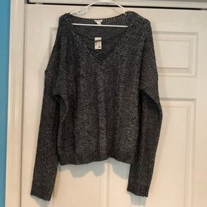 Aeropostale grey cable knit lace up sweater XXL